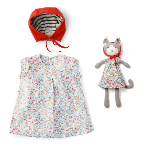 Sweet Rose Dress with Red Bonnet and Gracie Cat