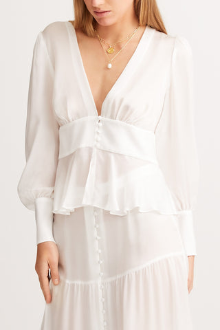 SLEEPING WITH JACQUES Sylvia Blouse - White