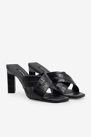 SENSO Ebony Crocodile Mule - Black
