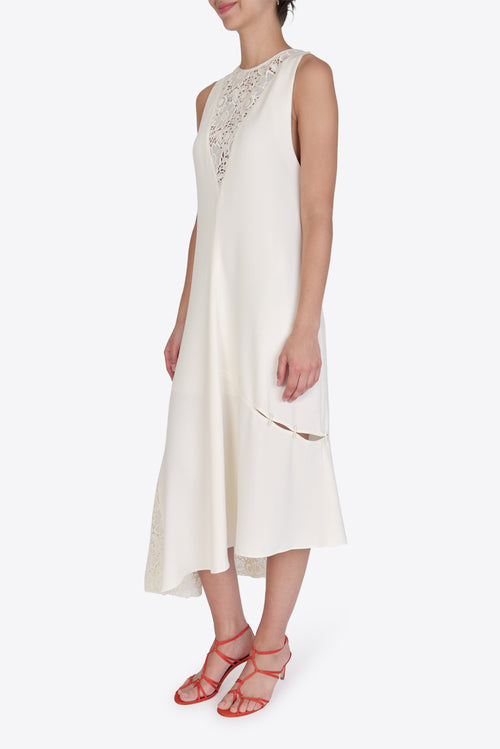 Guipure Lace Sleeveless Dress - Ivory