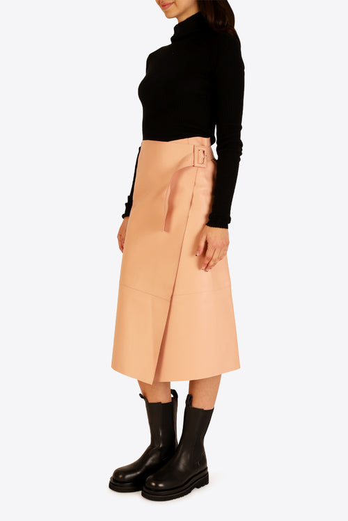 Hoxton Leather Skirt - Pink