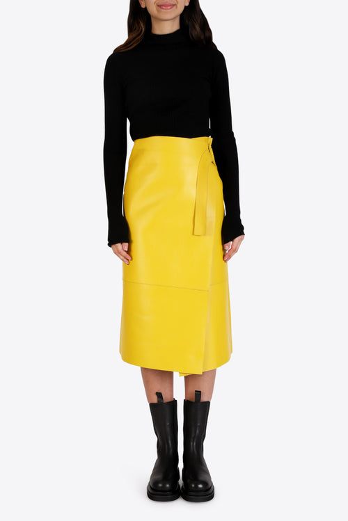 Hoxton Leather Skirt - Yellow
