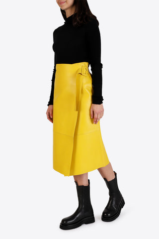 ON PARKS Hoxton Leather Skirt - Yellow