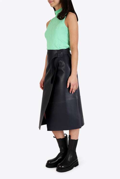 Hoxton Leather Skirt - Navy