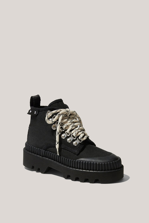 Lace-Up Hiker Boots - Black