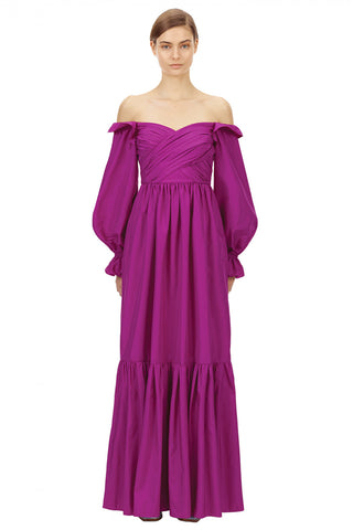 SELF PORTRAIT Off-Shoulder Maxi Dress - Purple