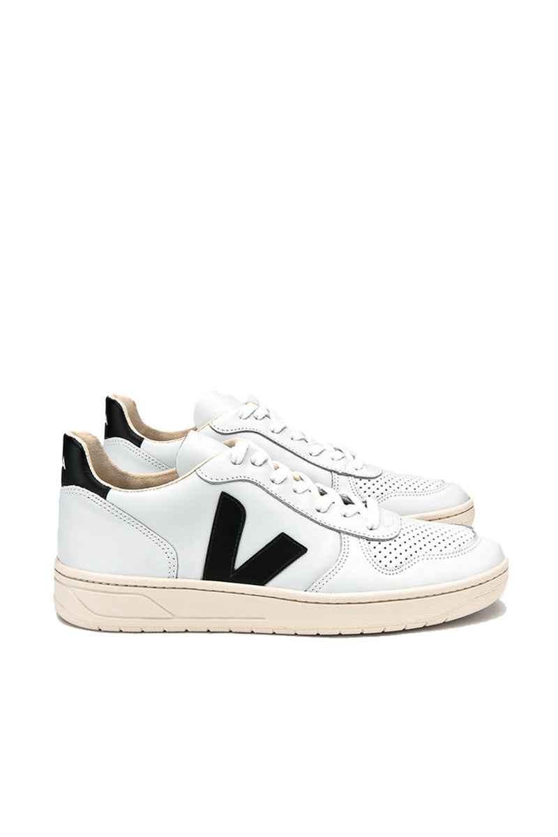 V-10 Leather Trainers - Extra White/Black
