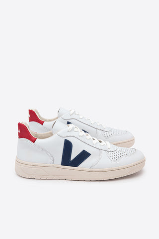VEJA V-10  Leather Trainers - Extra White Nautico