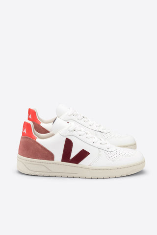 VEJA V-10 Leather Trainers - Extra White/Marsala Dried Petal