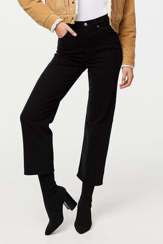 LEVI'S Ribcage Straight Ankle Jean - Black Sprout