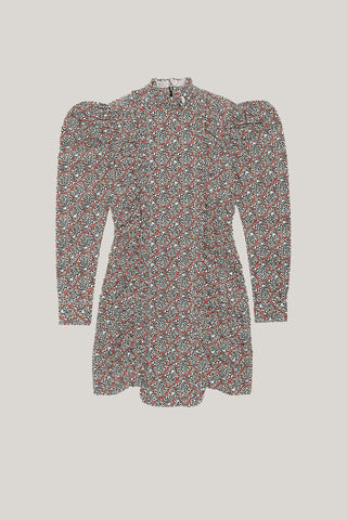 GANNI Printed Crepe Mini Dress - Tapioca