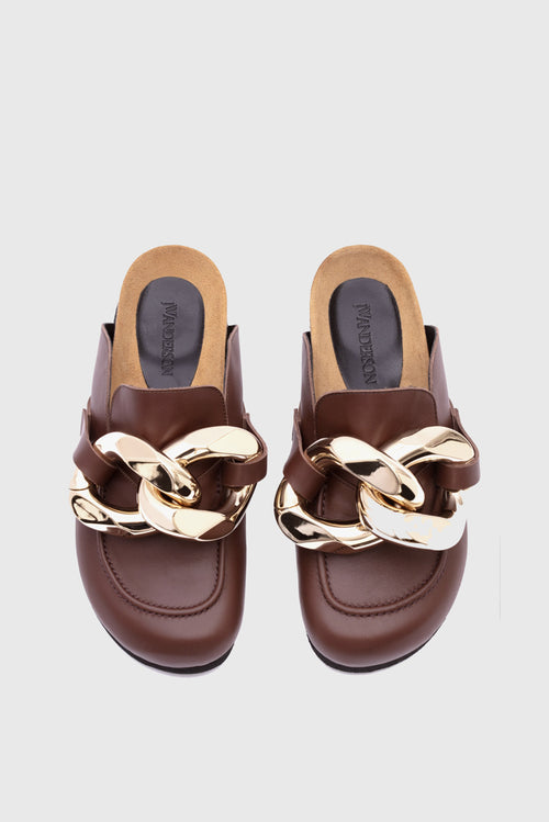 Chain Loafer Mules - Cola