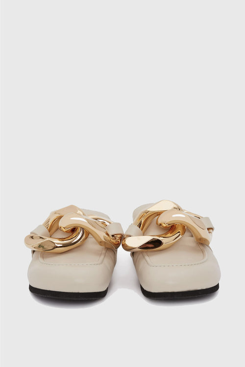 Chain Loafer Mules - Cream