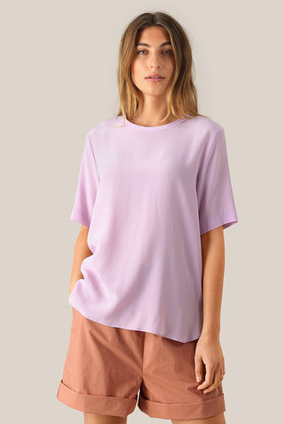 SECOND FEMALE Tonga Silk SS T-Shirt - Lavender Frost