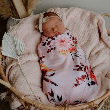 Snuggly Jacks Evie Floral Stretch Wrap and Top Knot