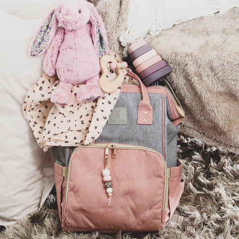 Backpack Nappy Bag Dusty Pink & Grey