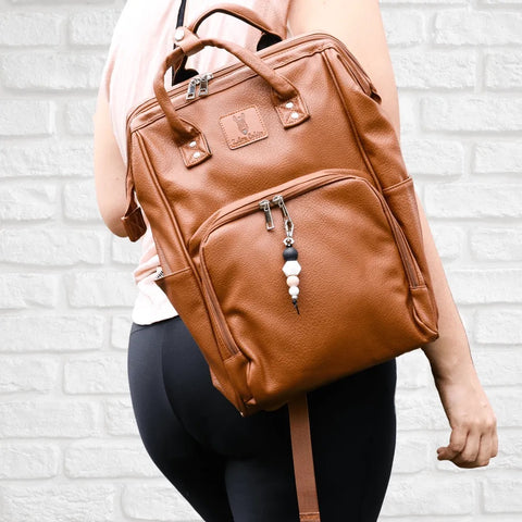 Nappy Bag Backpack Luxe Faux Leather Brown