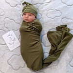 Olive Stretch Wrap and Beanie