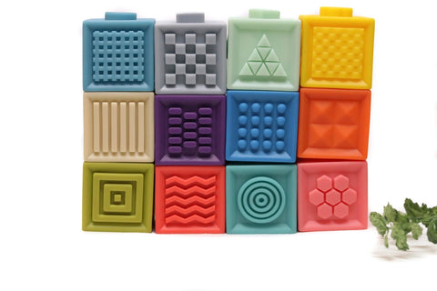 Soft Silicone Stacking Blocks Set of 12 Brights