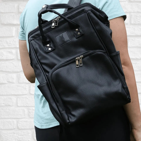 Nappy Bag Backpack Luxe Faux Leather Black