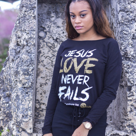 Jesus Love Never Fails Long-Sleeve Scoop Tee