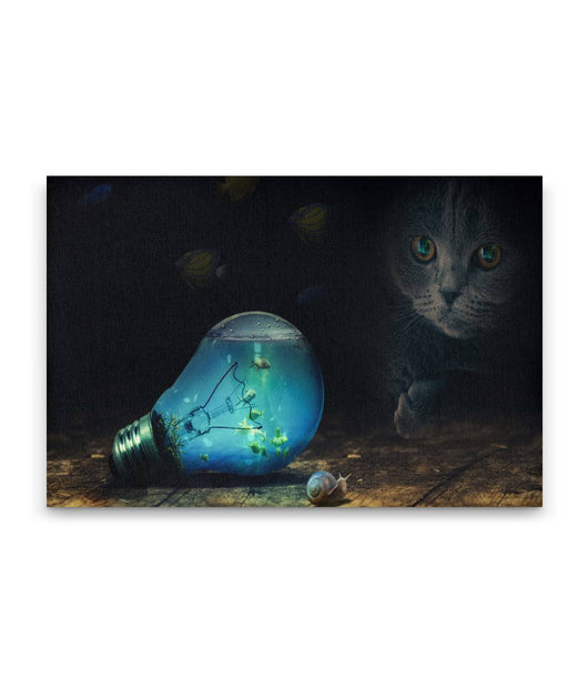 Cat, Fish, and Bulb Canvas Wall Art
