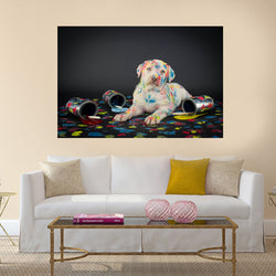 White Retriever Dog Painting Canvas Wall Art