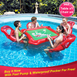 Large Floating Poker Table and 4 Chairs