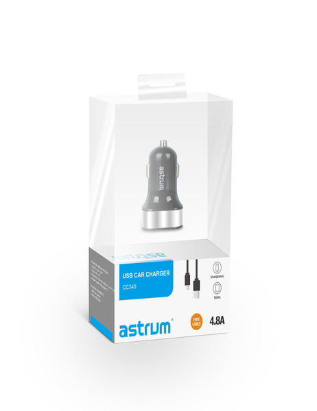Astrum CC340 Car Charger Dual USB 4.8Amps + Micro USB Cable