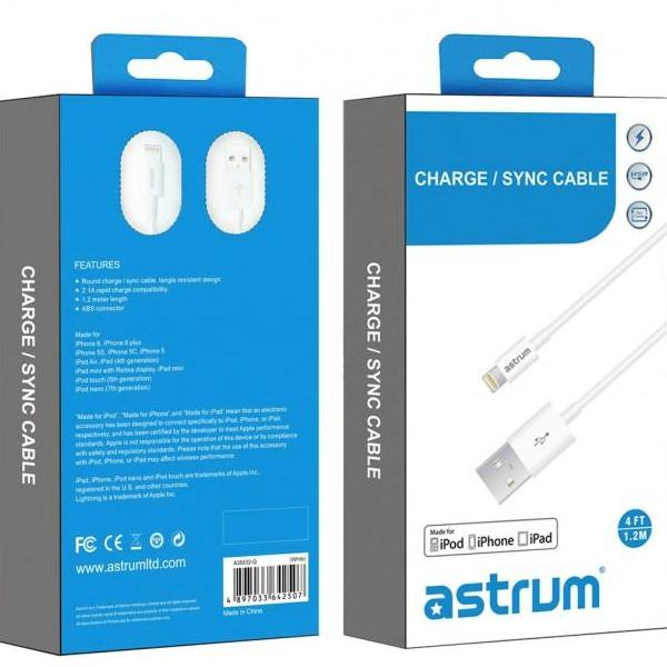 Astrum AC810 MFI Certified 8 pin Lightning to USB Charge / Sync cable