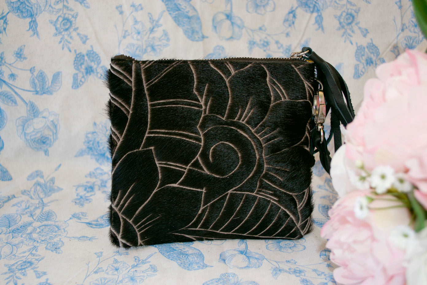 Small Carved Clutch - Black Collection