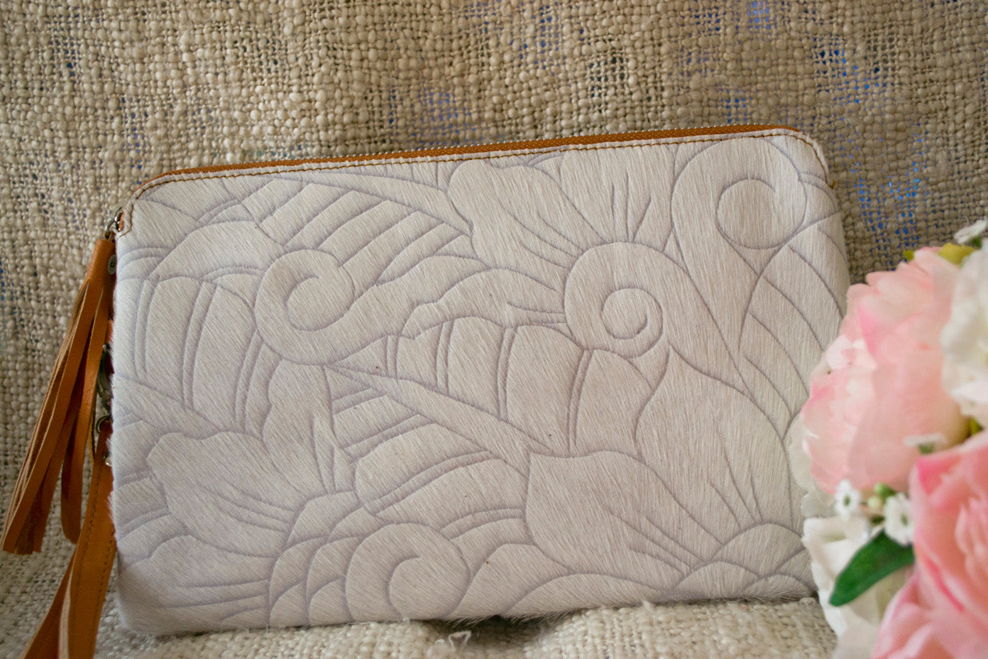 Carved Clutch - White Collection