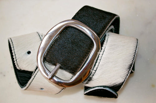 Thick Cowhide Belt ~ Black & White Range