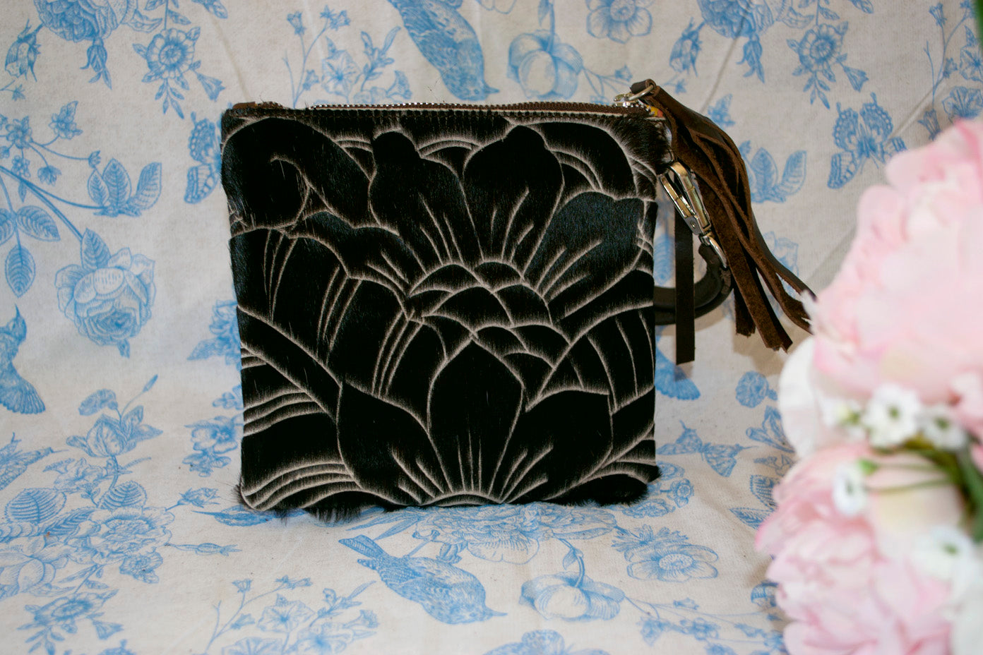 Small Carved Clutch - Dark Brown Collection