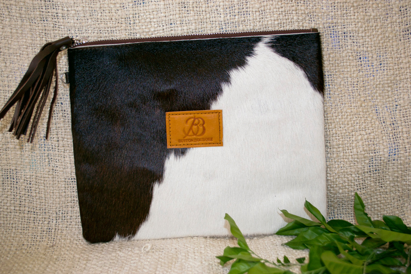 Large Clutch - Brown & White Collection