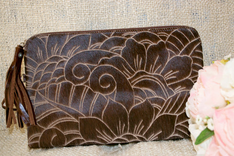 Carved Clutch - Brown Collection