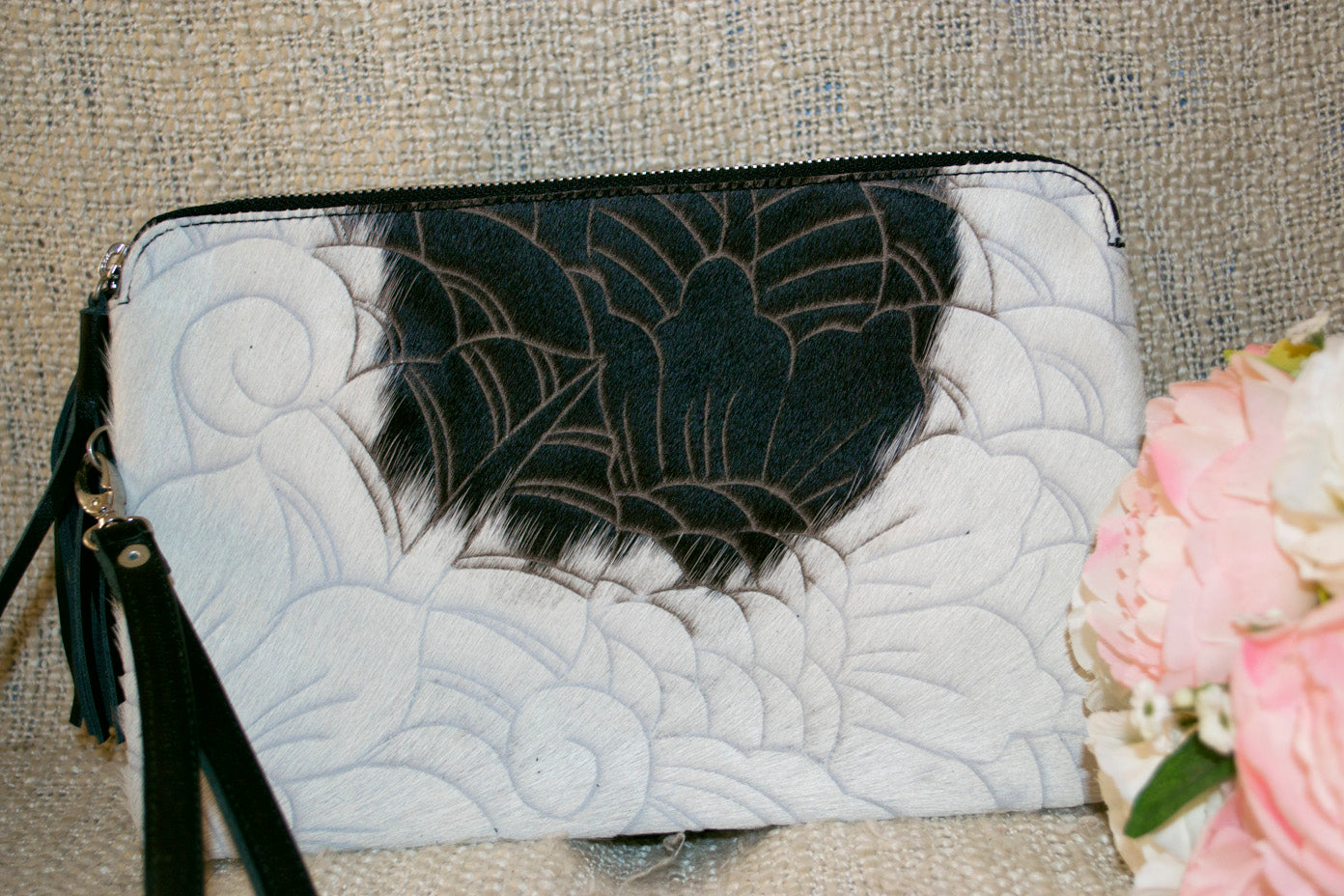 Carved Clutch - Black & White Collection
