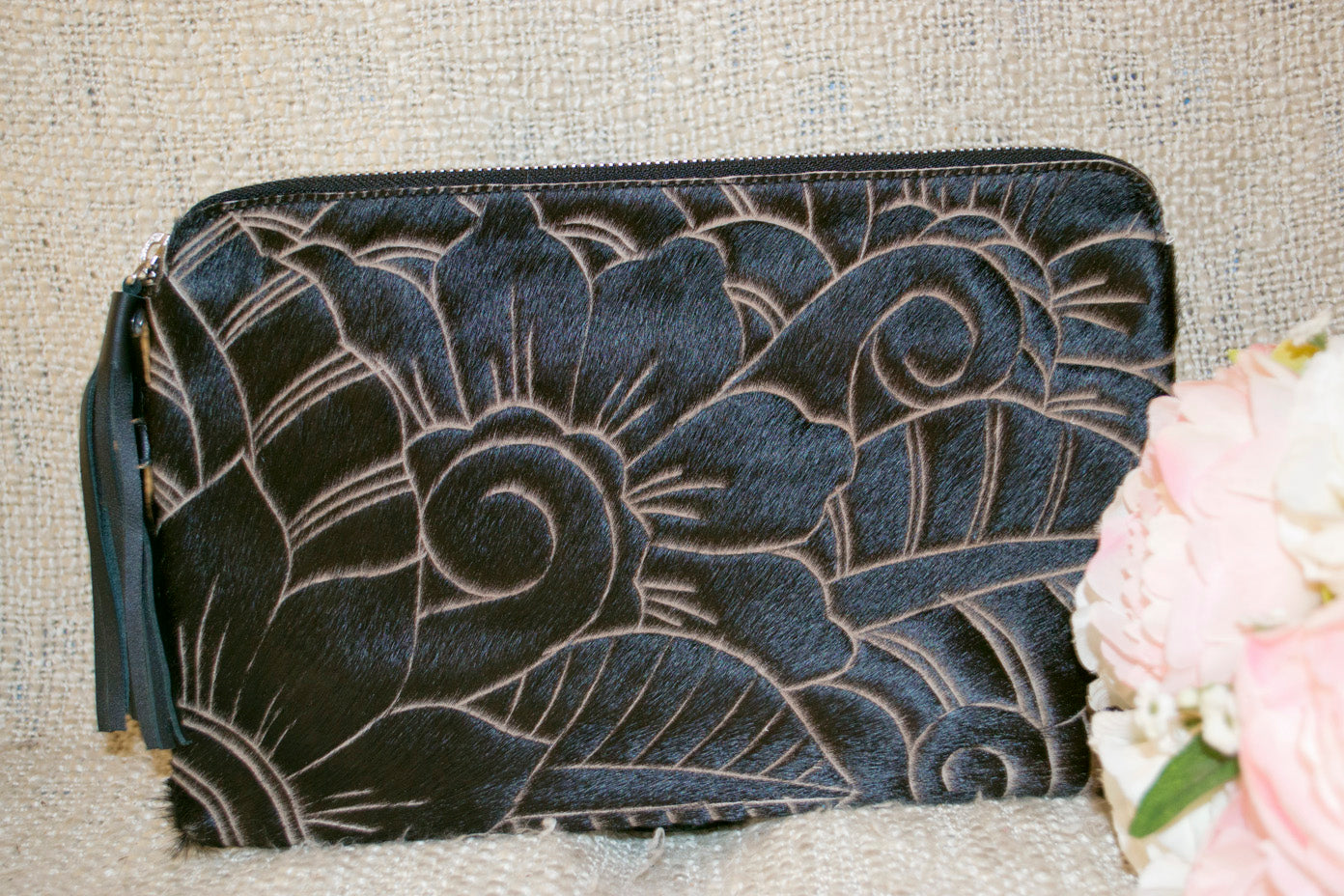 Carved Clutch -  Black Collection