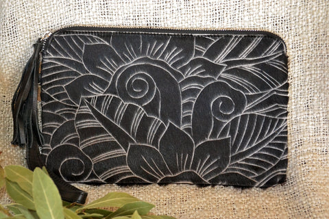 Small Carved Clutch - Black & White Collection
