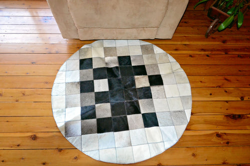 Black Cowhide Flower Rug