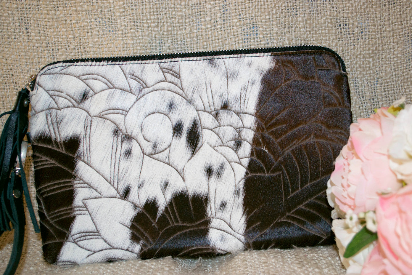 Carved Clutch - Chocolate & White Collection