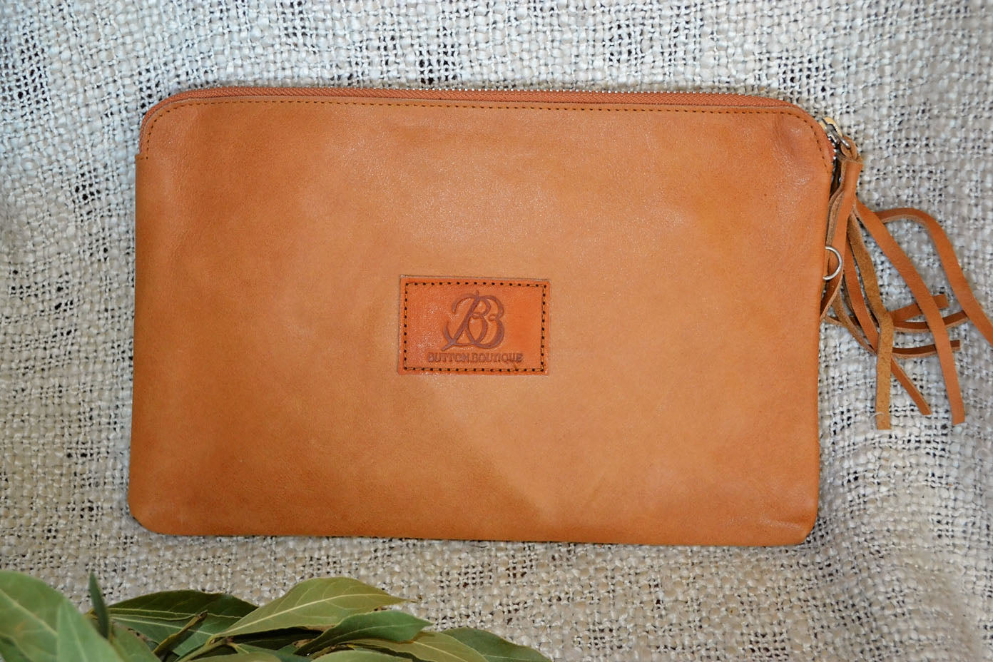 Carved Clutch - Tan & White Collection