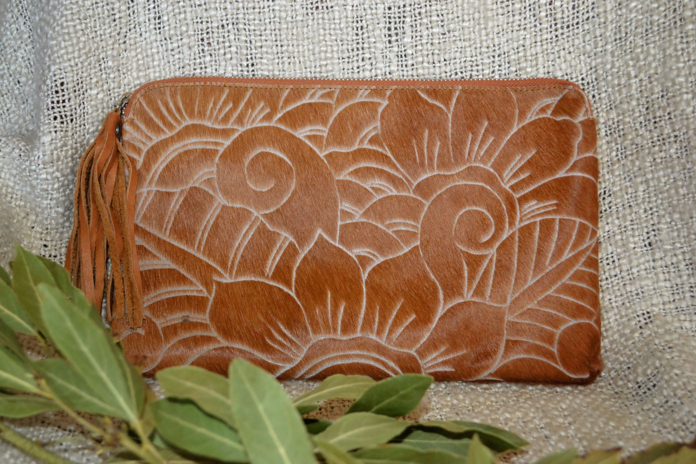 Carved Clutch - Tan Collection