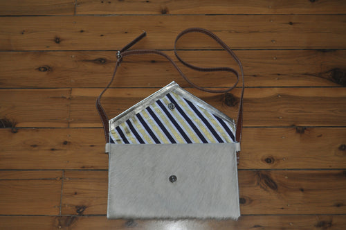 Envelope Clutch - White with a Silver Trim