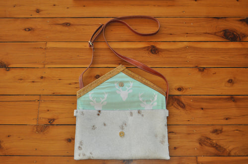 Envelope Clutch - White with a Gold Trim