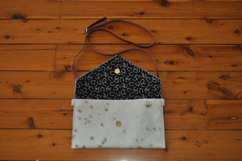 Envelope Clutch - White & Brown