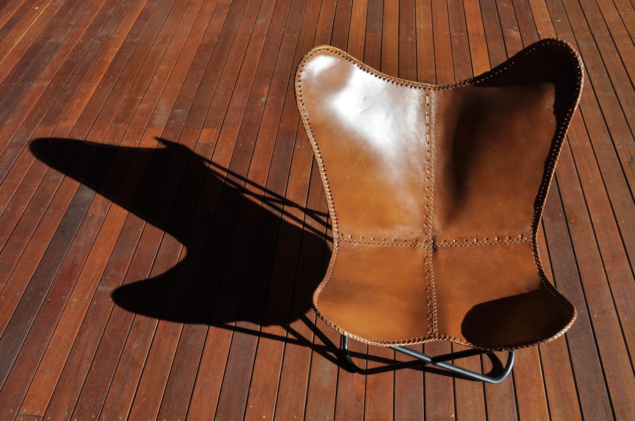 Butterfly Chair - Tan Leather