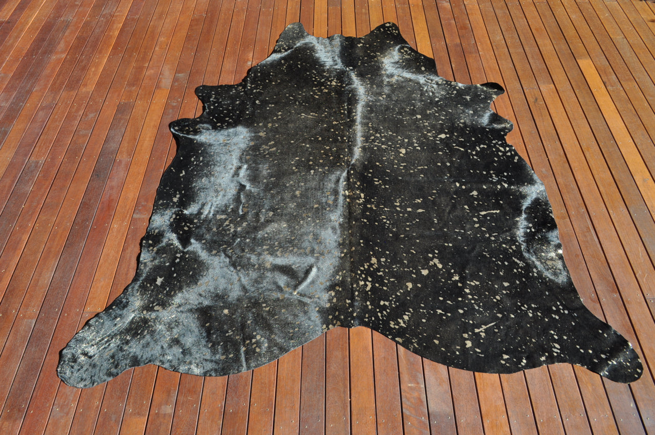 Metallic Gold on Black Cowhide Floor Rug #4