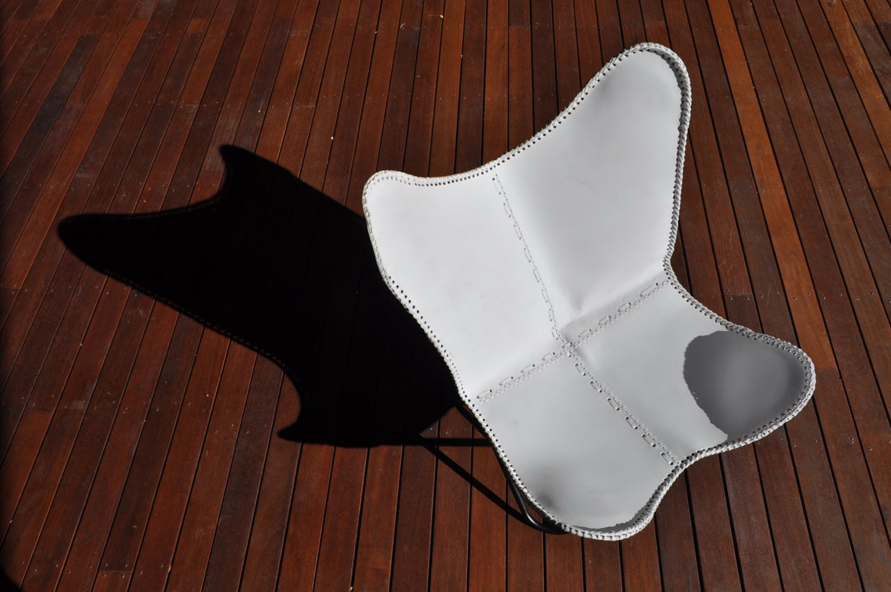 Butterfly Chair - White Leather