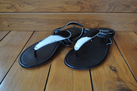 White & Black Sandals ~ Size 41
